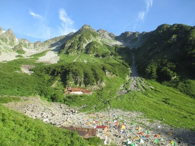 8月 北穂高岳、涸沢小屋とテントサイト8月